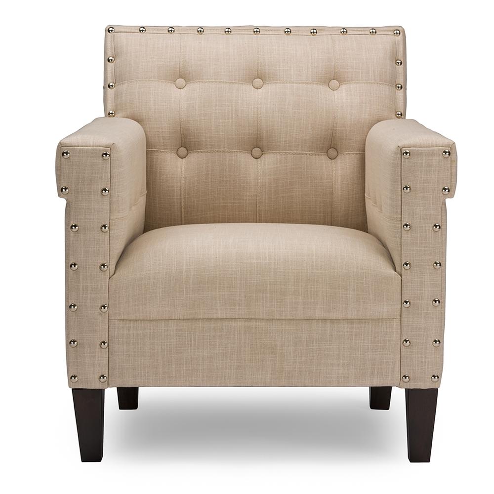 Beige modern armchair -  Baxton Studio Odella Modern And Contemporary Beige Linen Upholstered Armchair With Nailheads Bsobbt5191 Tub
