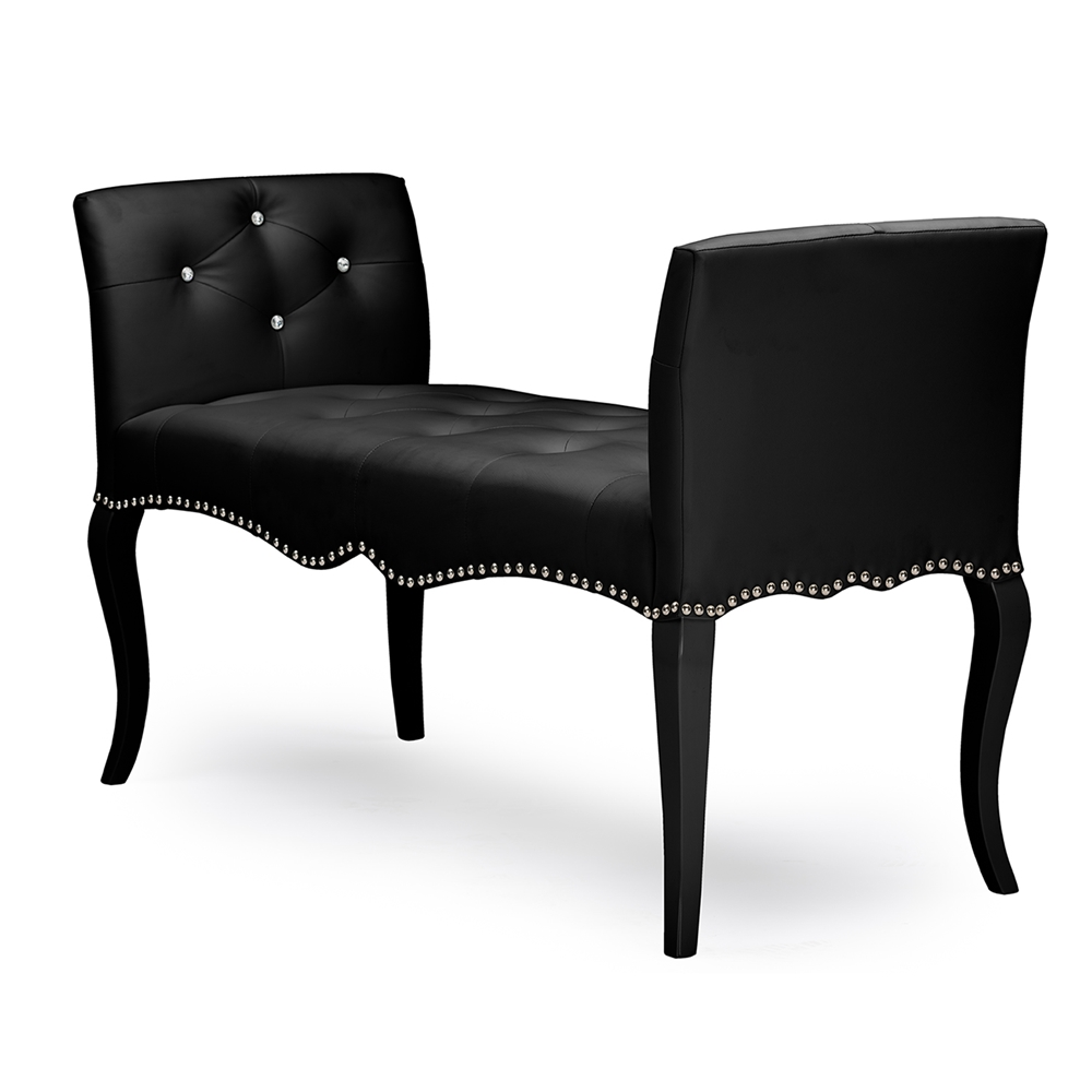 baxton studio kristy modern and contemporary black faux leather  - baxton studio kristy modern and contemporary black faux leather classicseating bench
