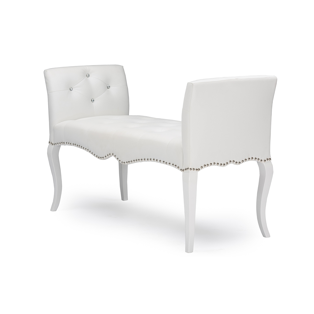 baxton studio kristy modern and contemporary white faux leather  - baxton studio kristy modern and contemporary white faux leather classicseating bench