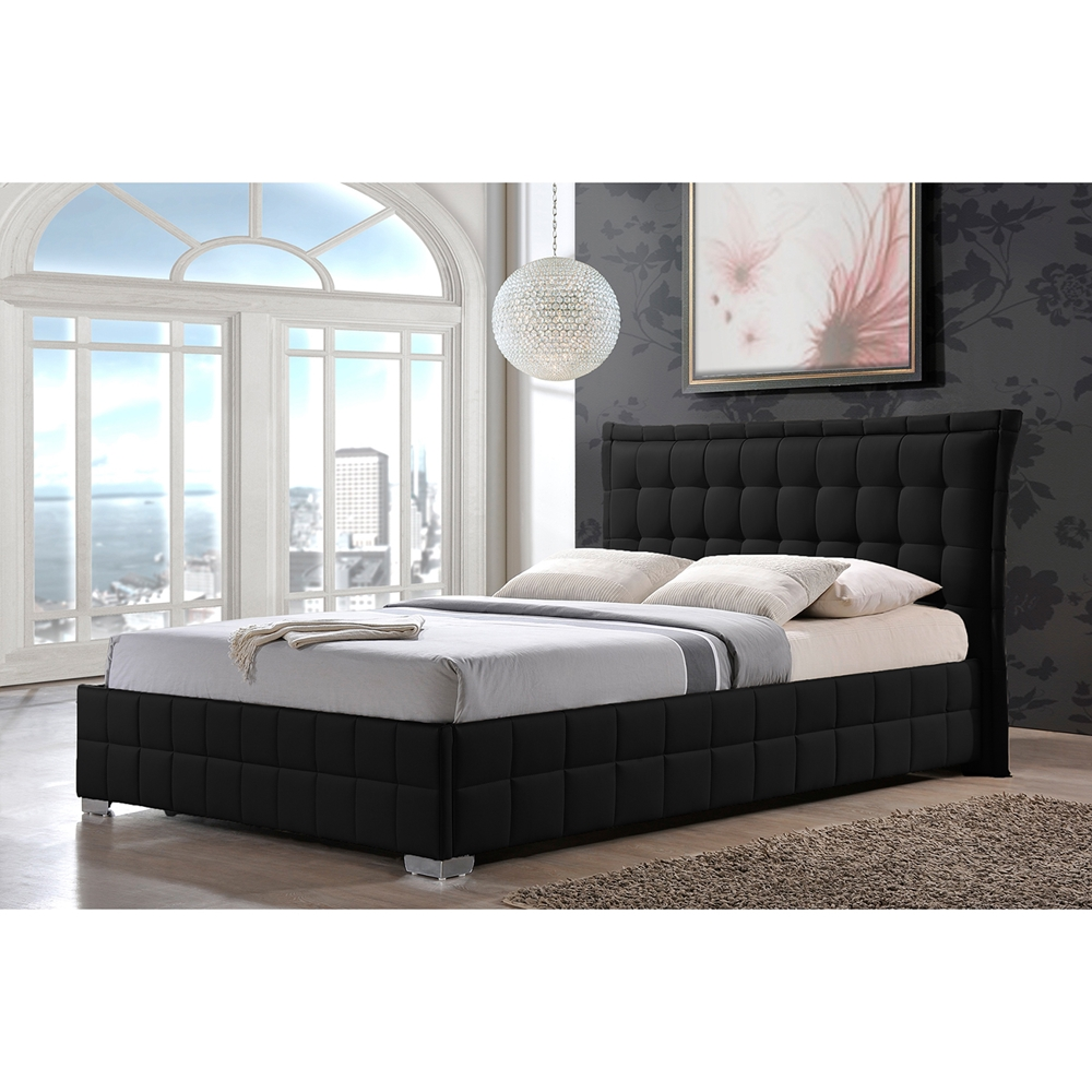 baxton studio monaco modern and contemporary black faux leather queen size platform base bed frame - Leather Queen Bed Frame