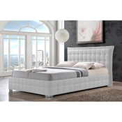 Baxton Studio Monaco Modern and Contemporary White Faux Leather King Size Platform Base Bed Frame Affordable modern furniture in Chicago, Classic platform bed, Modern platform bed, cheap bed