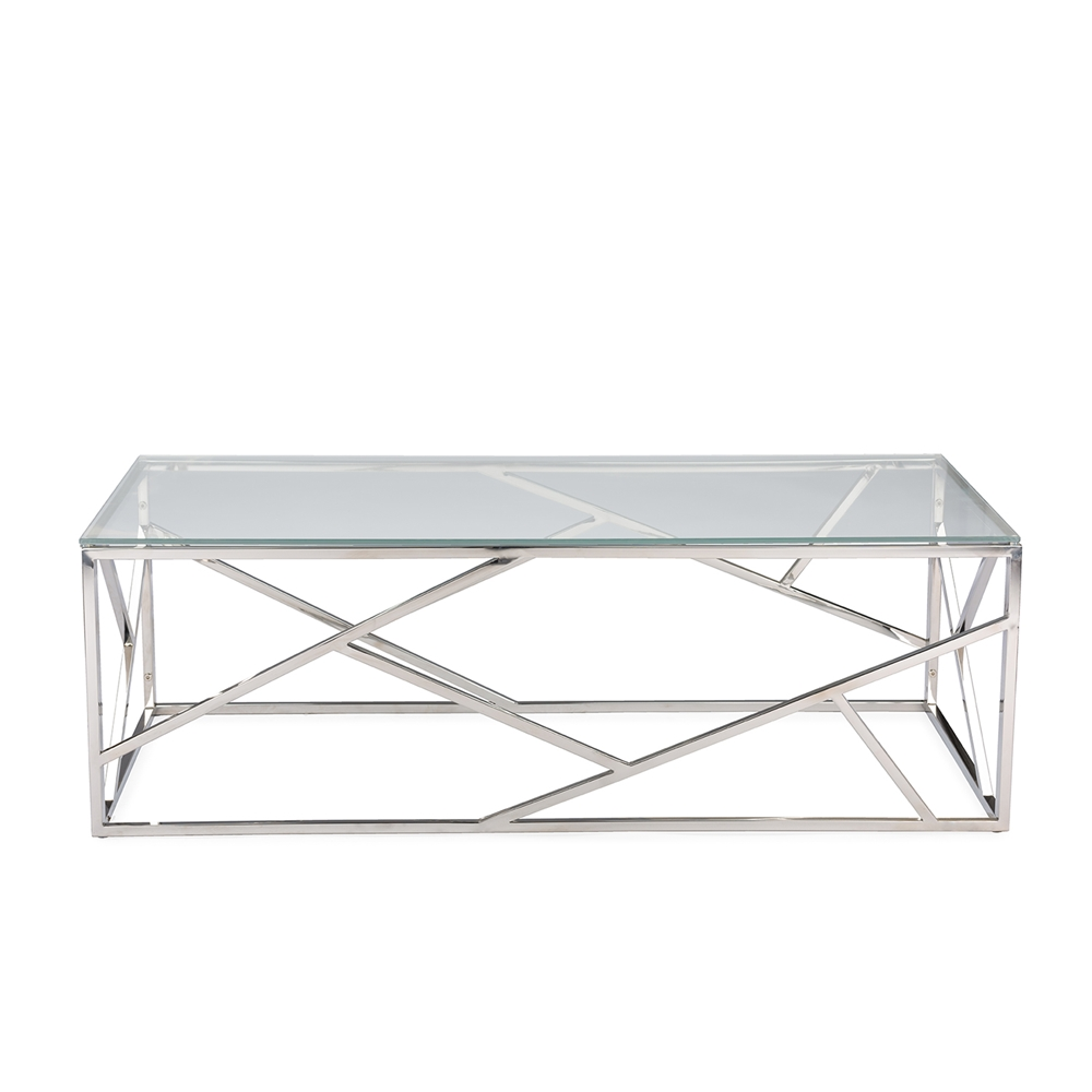 Baxton studio fiona modern and contemporary stainless steel coffee table with tempered glass top Steel and glass coffee table