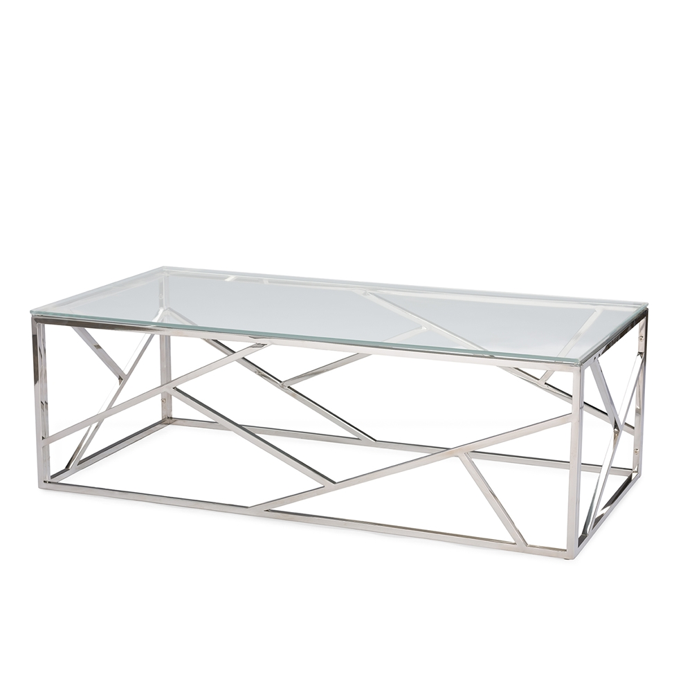 Baxton Studio Fiona Modern And Contemporary Stainless Steel Coffee Table With Tempered Glass Top Bsogy
