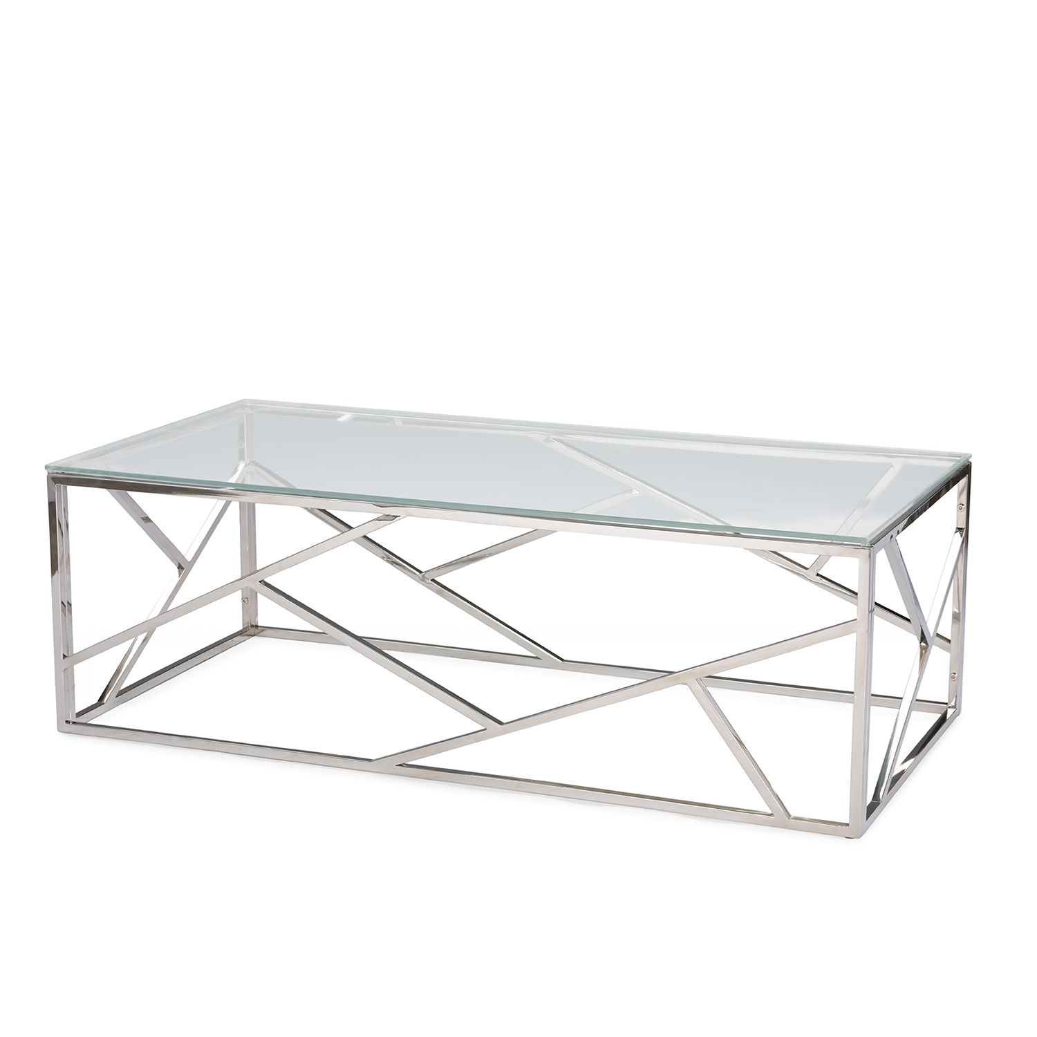 ... Baxton Studio Fiona Modern And Contemporary Stainless Steel Coffee Table  With Tempered Glass Top   BSOGY ...