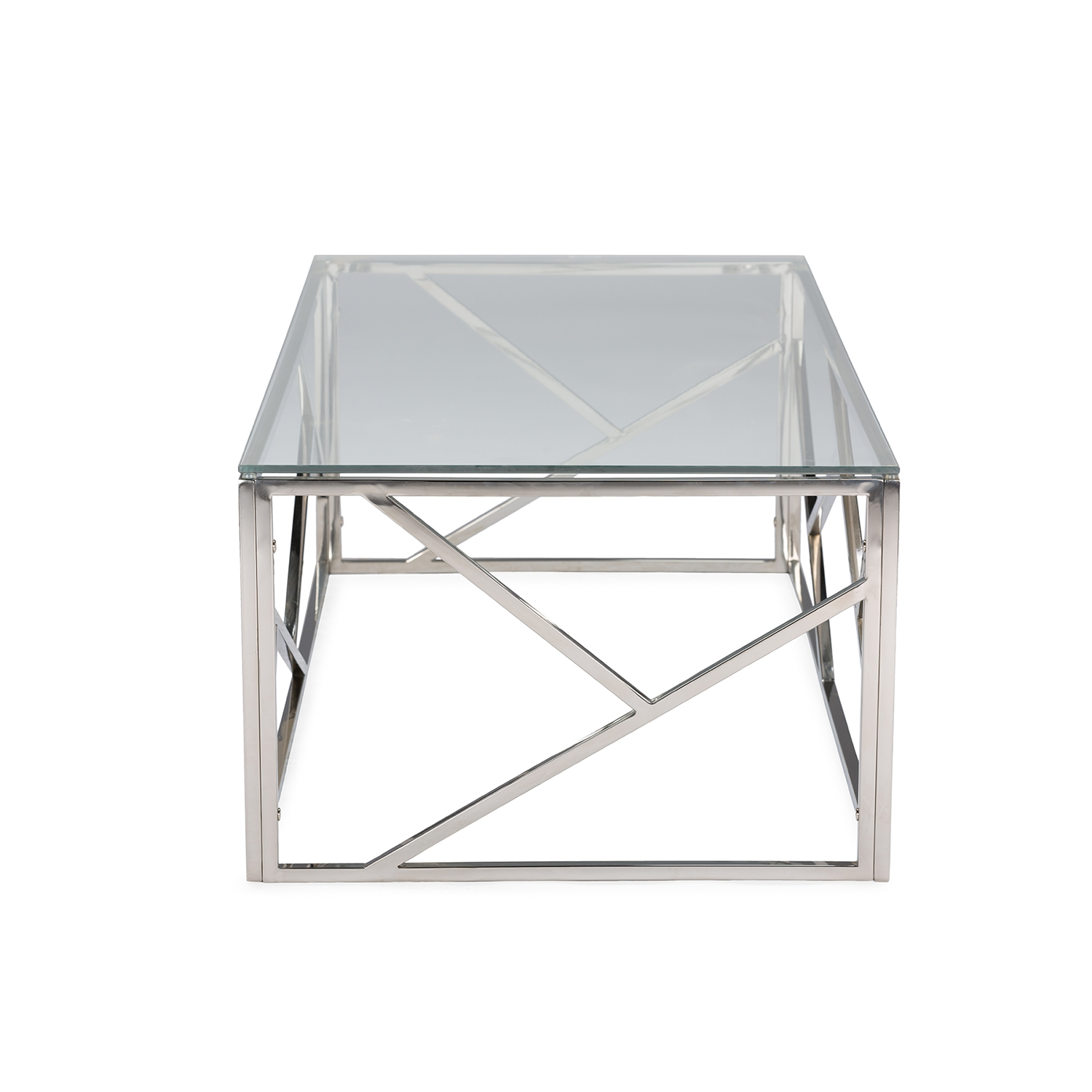 Contemporary Glass Table Part - 30: ... Baxton Studio Fiona Modern And Contemporary Stainless Steel Coffee Table  With Tempered Glass Top - BSOGY ...