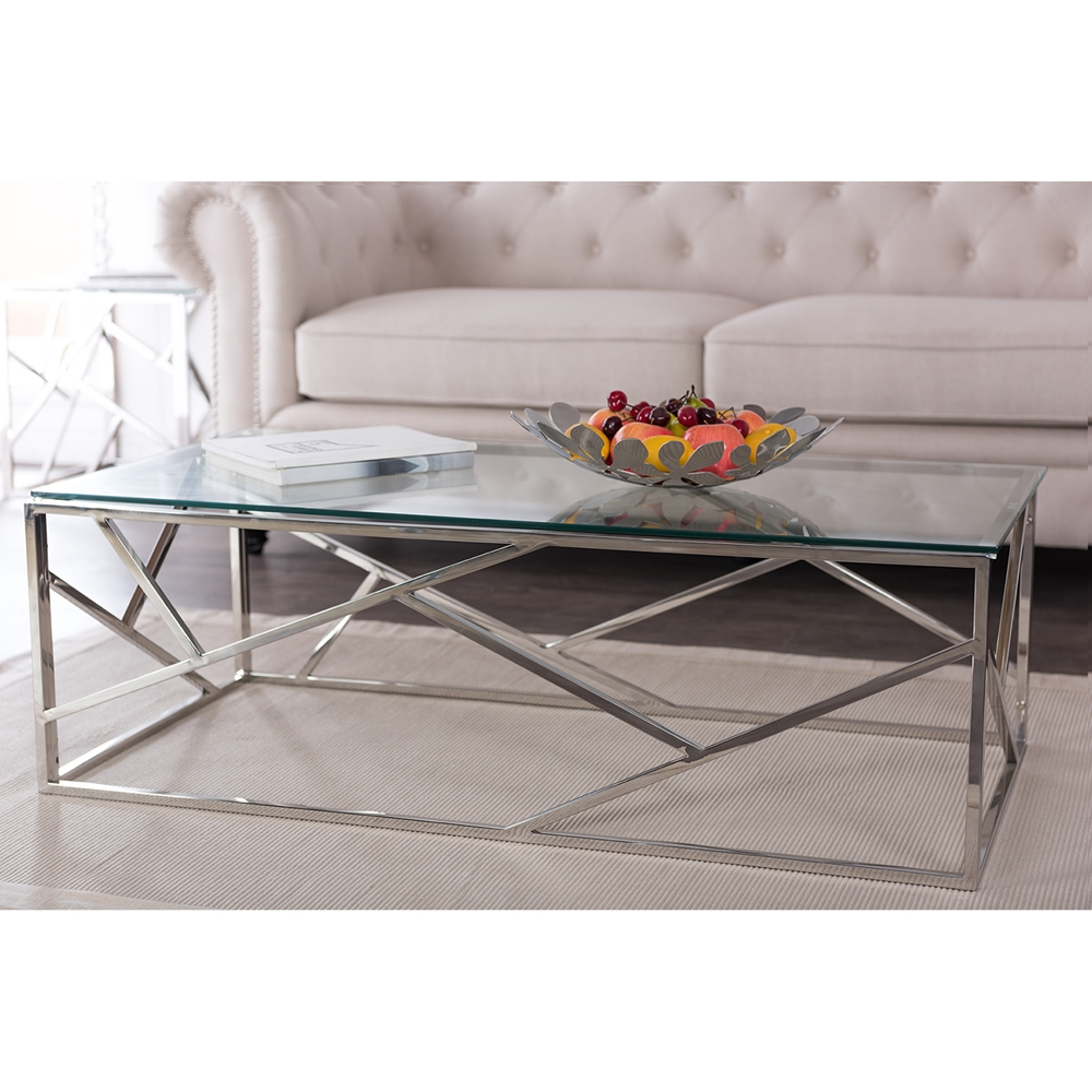 ... Baxton Studio Fiona Modern and Contemporary Stainless Steel Coffee Table  with Tempered Glass Top - BSOGY - Baxton Studio Fiona Modern And Contemporary Stainless Steel Coffee
