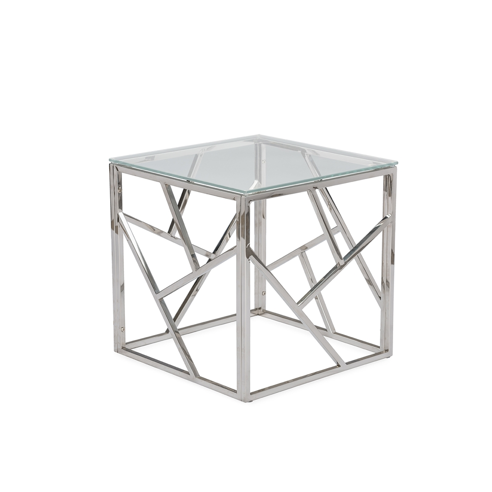 baxton studio fiona modern and contemporary stainless steel end  - baxton studio fiona modern and contemporary stainless steel end table withtempered glass top