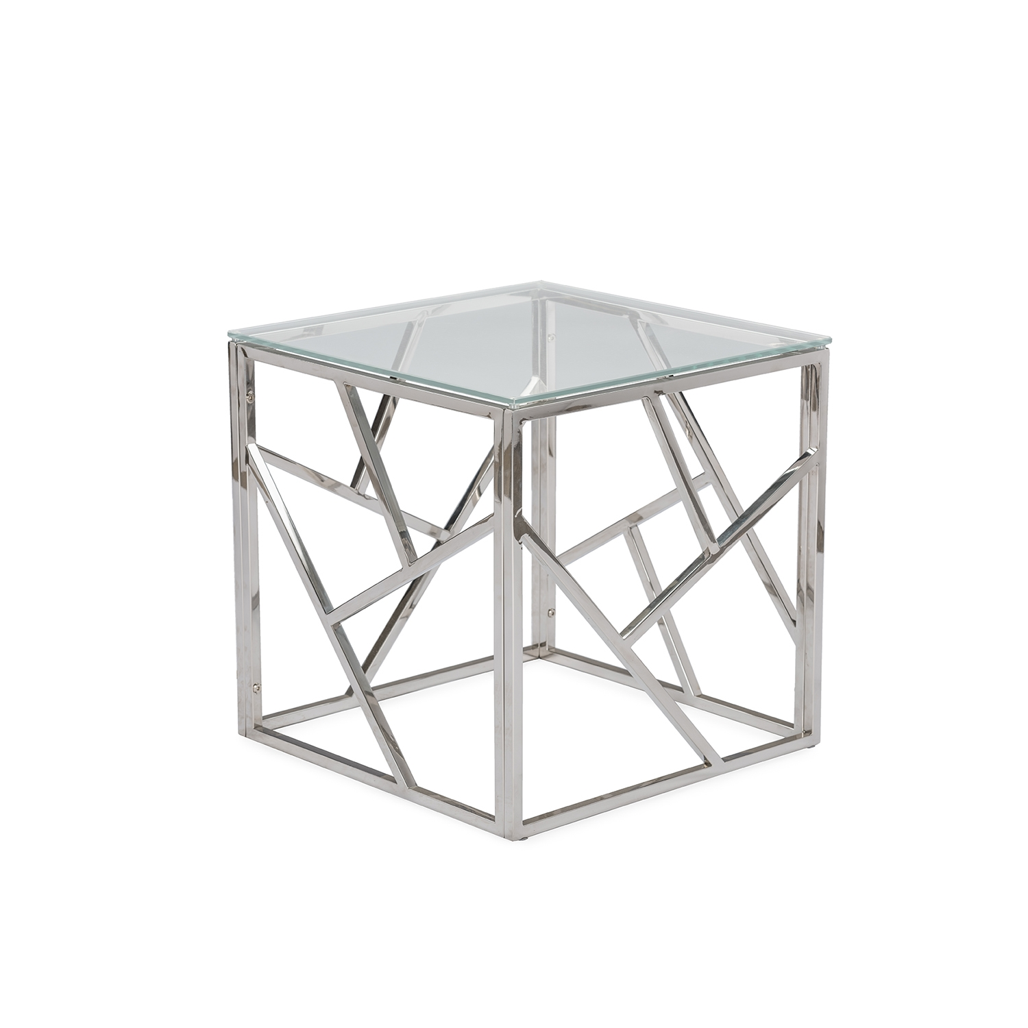 Baxton Studio Fiona Modern And Contemporary Stainless Steel End Table With  Tempered Glass Top