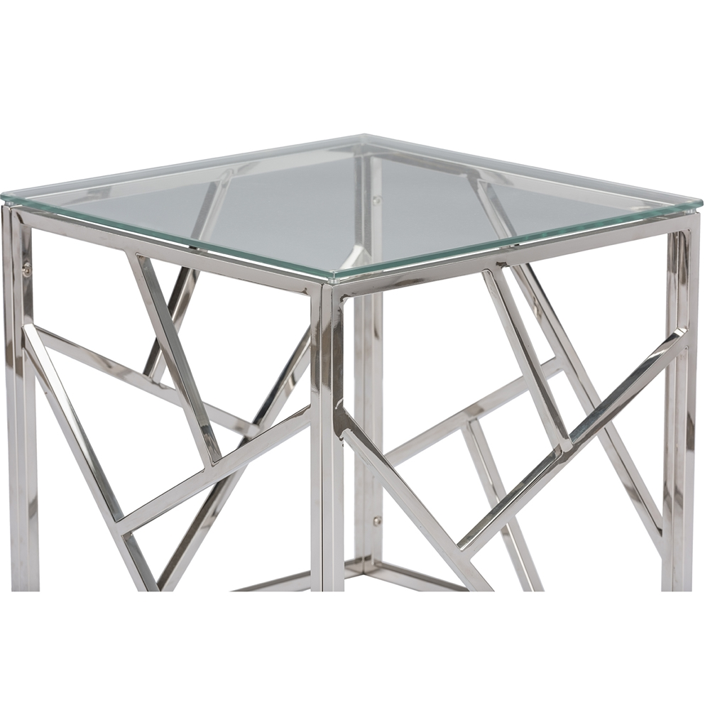 baxton studio fiona modern and contemporary stainless steel end  -  baxton studio fiona modern and contemporary stainless steel end tablewith tempered glass top  bsogy