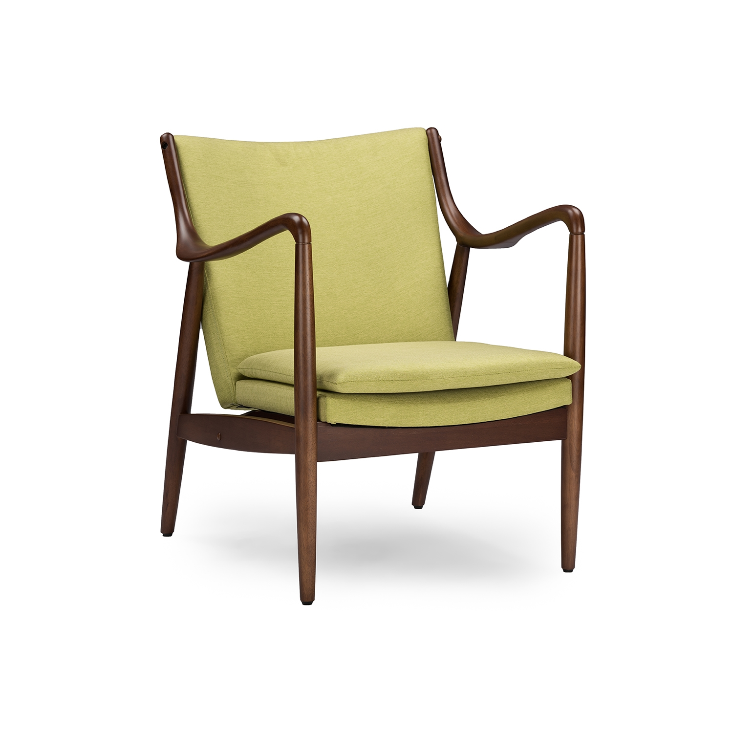 Mid Century Accent Chair Part - 47: Baxton Studio Shakespeare Mid-Century Modern Retro Green Fabric Upholstered  Leisure Accent Chair In Walnut Wood Frame