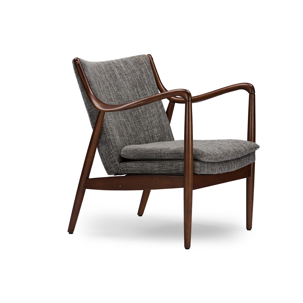 Baxton Studio Shakespeare Mid-Century Modern Retro Grey Fabric Upholstered  Leisure Accent Chair in Walnut Wood Frame