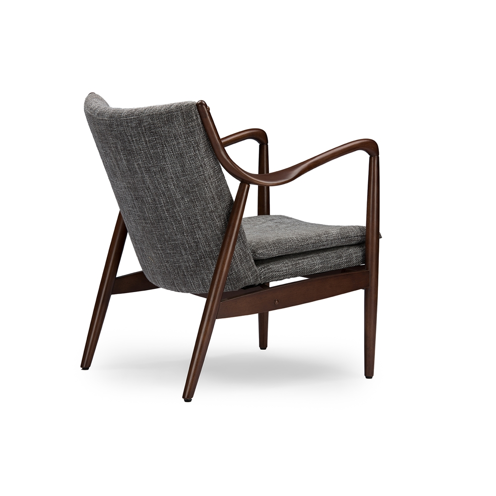 baxton studio shakespeare mid century modern retro grey fabric upholstered leisure accent chair in walnut - Wood Frame Accent Chairs