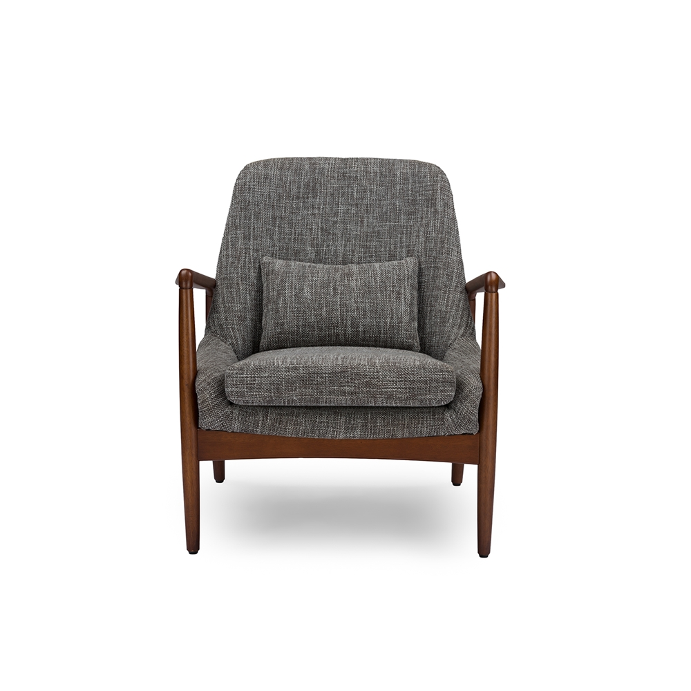 Baxton Studio Rundell Mid-Century Modern Retro Grey Fabric Upholstered  Leisure Accent Chair in Walnut Wood Frame
