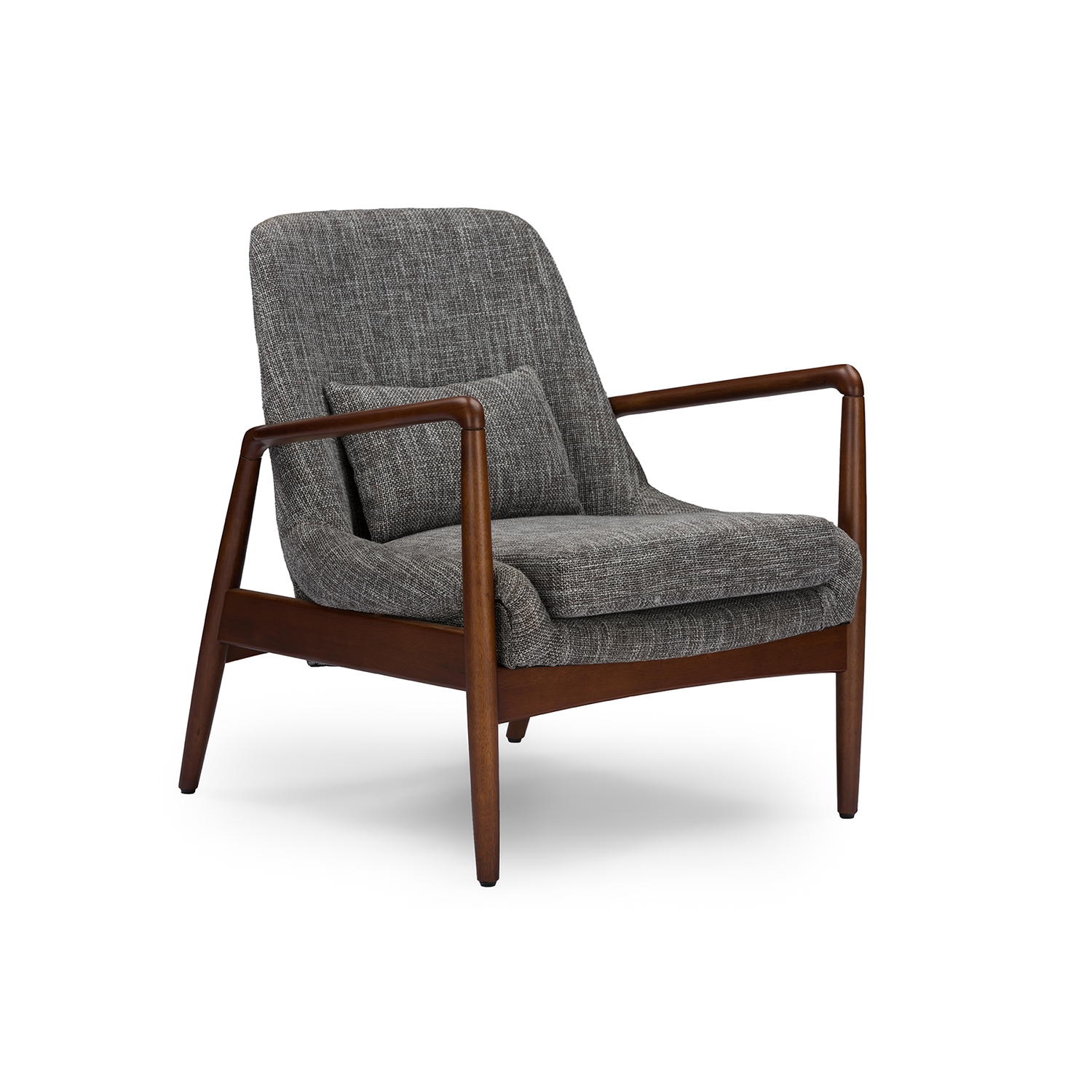 wood frame accent chairs. Baxton Studio Carter Mid-Century Modern Retro Grey Fabric Upholstered Leisure Accent Chair In Walnut Wood Frame Chairs R
