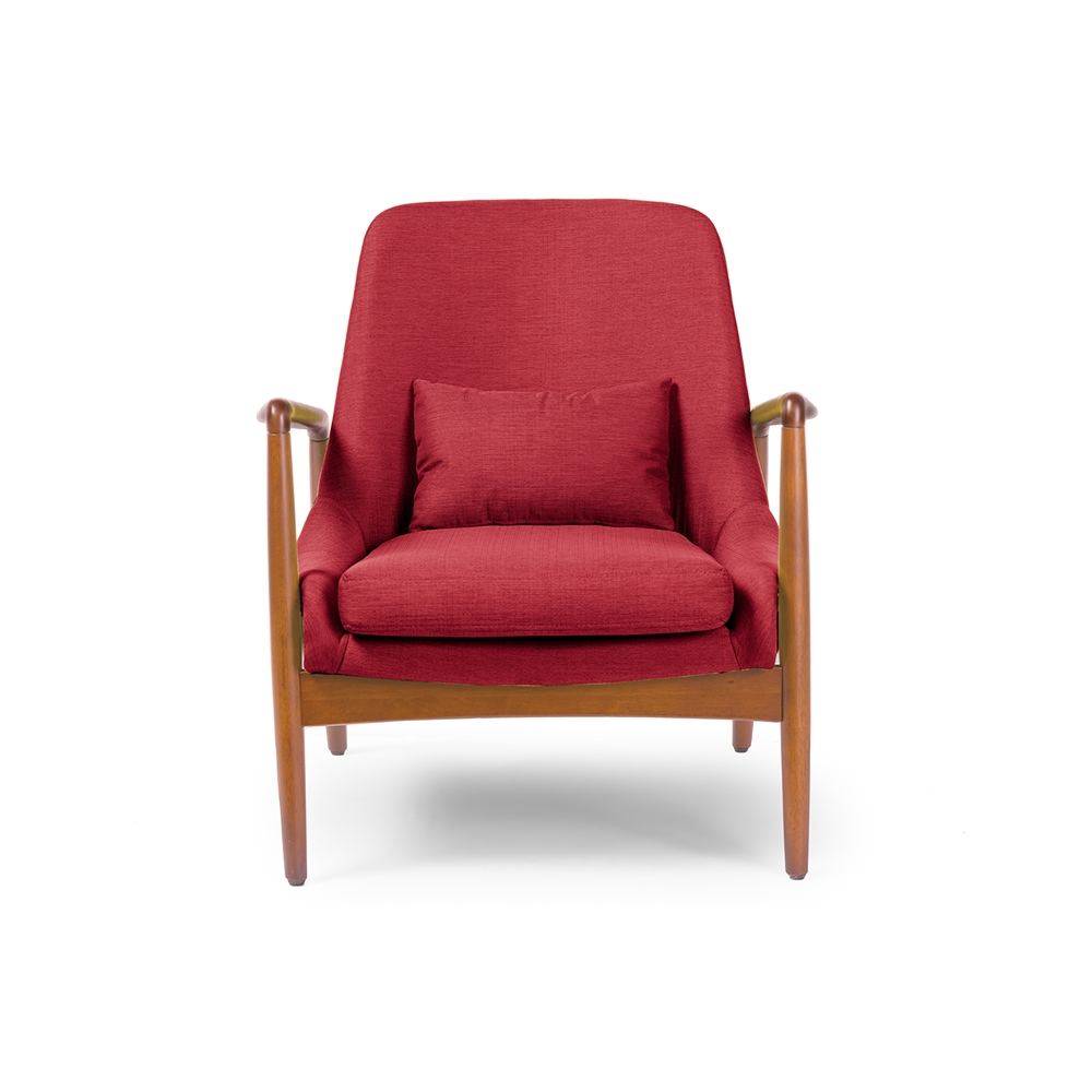 Baxton studio carter mid century modern retro red fabric for Modern occasional chairs