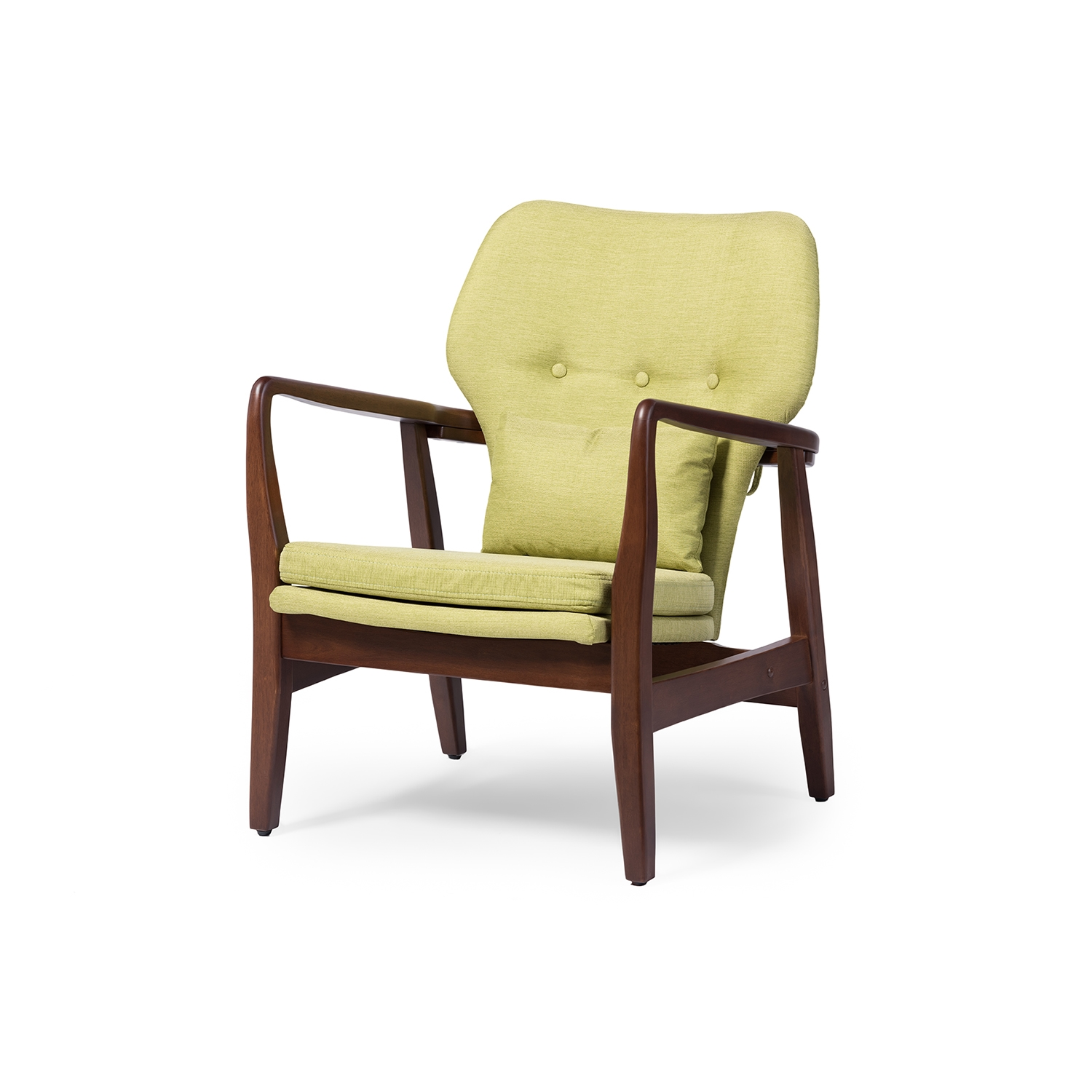 Baxton Studio Rundell Mid Century Modern Retro Green Fabric Upholstered  Leisure Accent Chair In Walnut Wood Frame