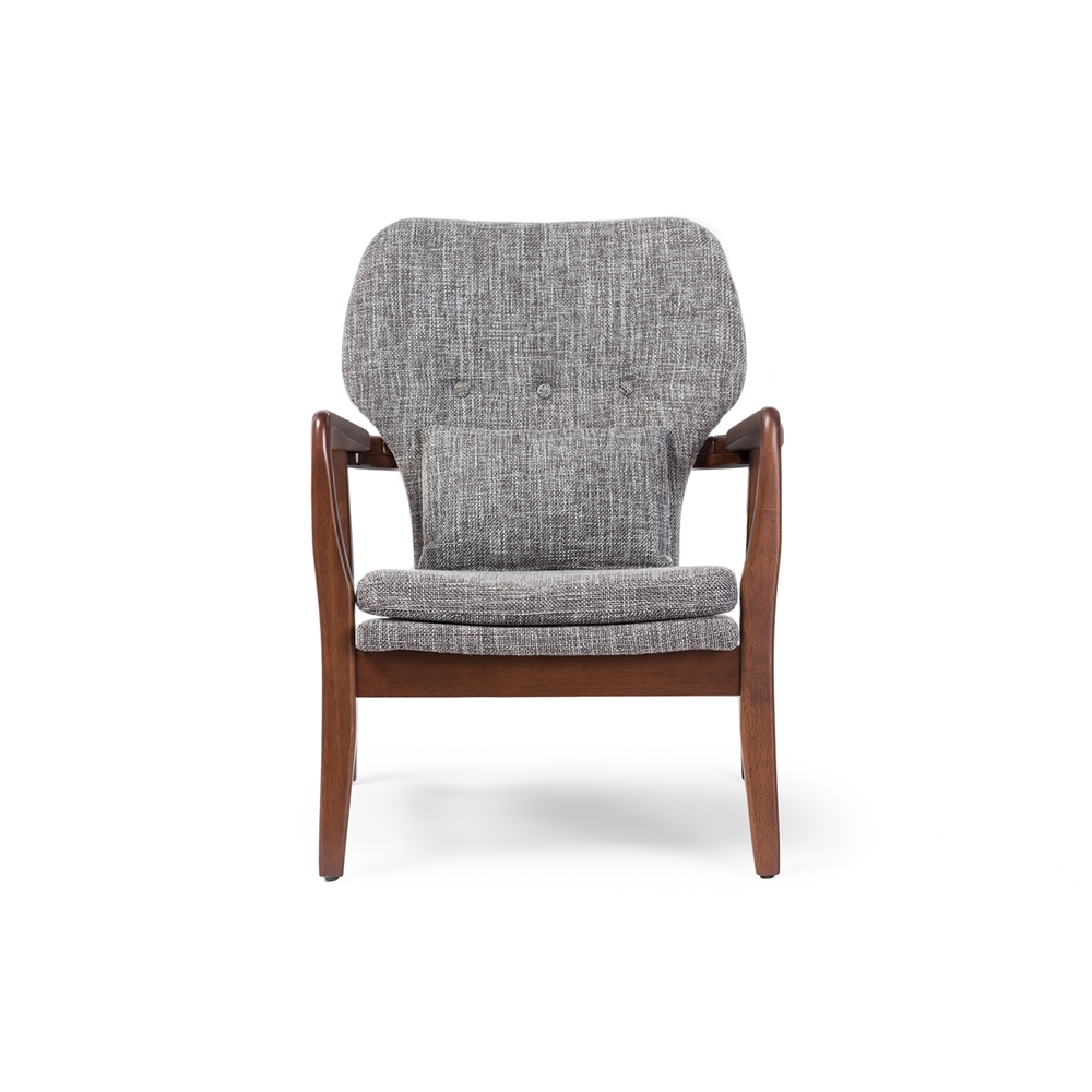 baxton studio rundell mid century modern retro grey fabric upholstered leisure accent chair in walnut - Wood Frame Accent Chairs