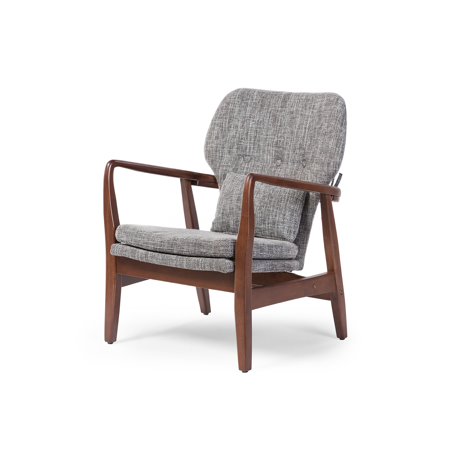 Superbe Baxton Studio Rundell Mid Century Modern Retro Grey Fabric Upholstered  Leisure Accent Chair In Walnut Wood Frame