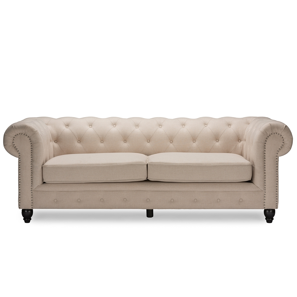 Baxton studio cassandra modern classic rolled arm beige linen upholstered che - Canape chesterfield beige ...