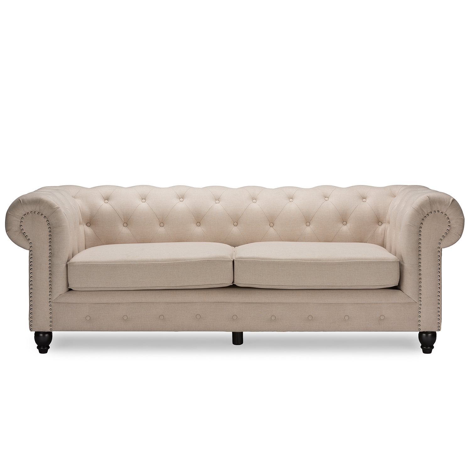 Baxton Studio Cassandra Modern Classic Rolled Arm Beige Linen Upholstered  Chesterfield 3 Seater Sofa