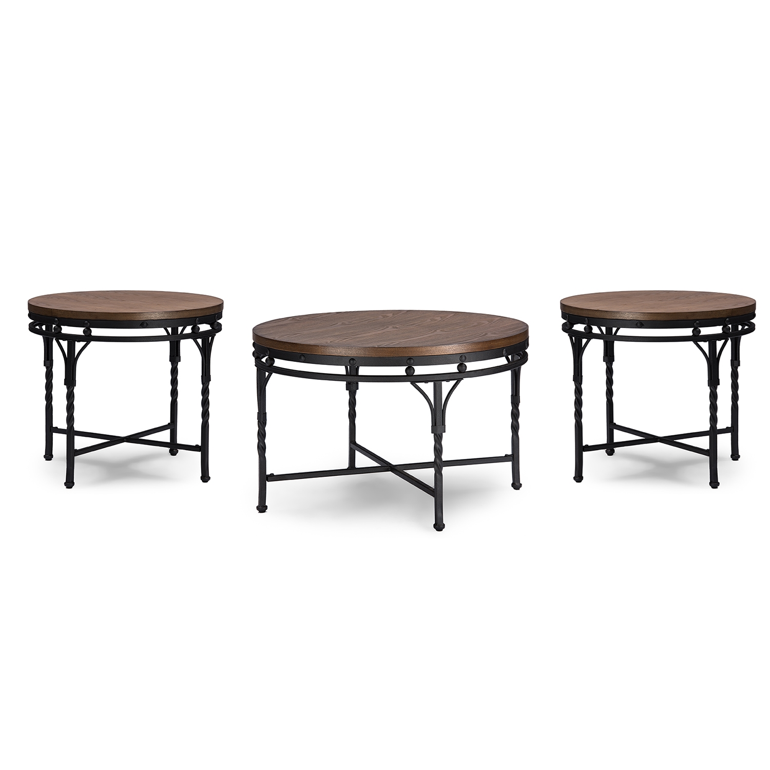 baxton studio austin vintage industrial antique bronze round coffee cocktail table and end tables 3piece occasional table set
