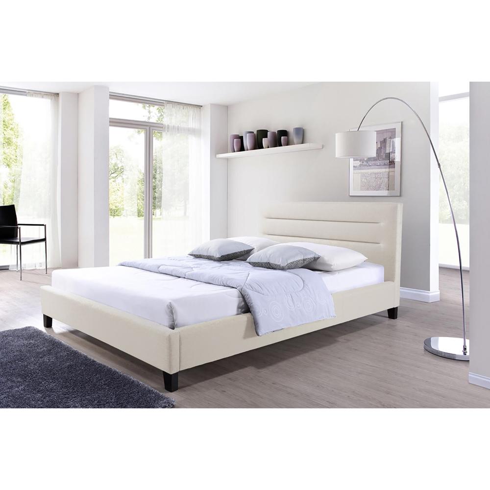 baxton studio hillary modern and contemporary queen size light  -  baxton studio hillary modern and contemporary queen size light beigefabric upholstered platform base bed frame
