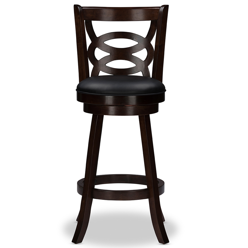 Baxton Studio Anthea Espresso Brown Swivel Bar Stool with Upholstered Seat Set of