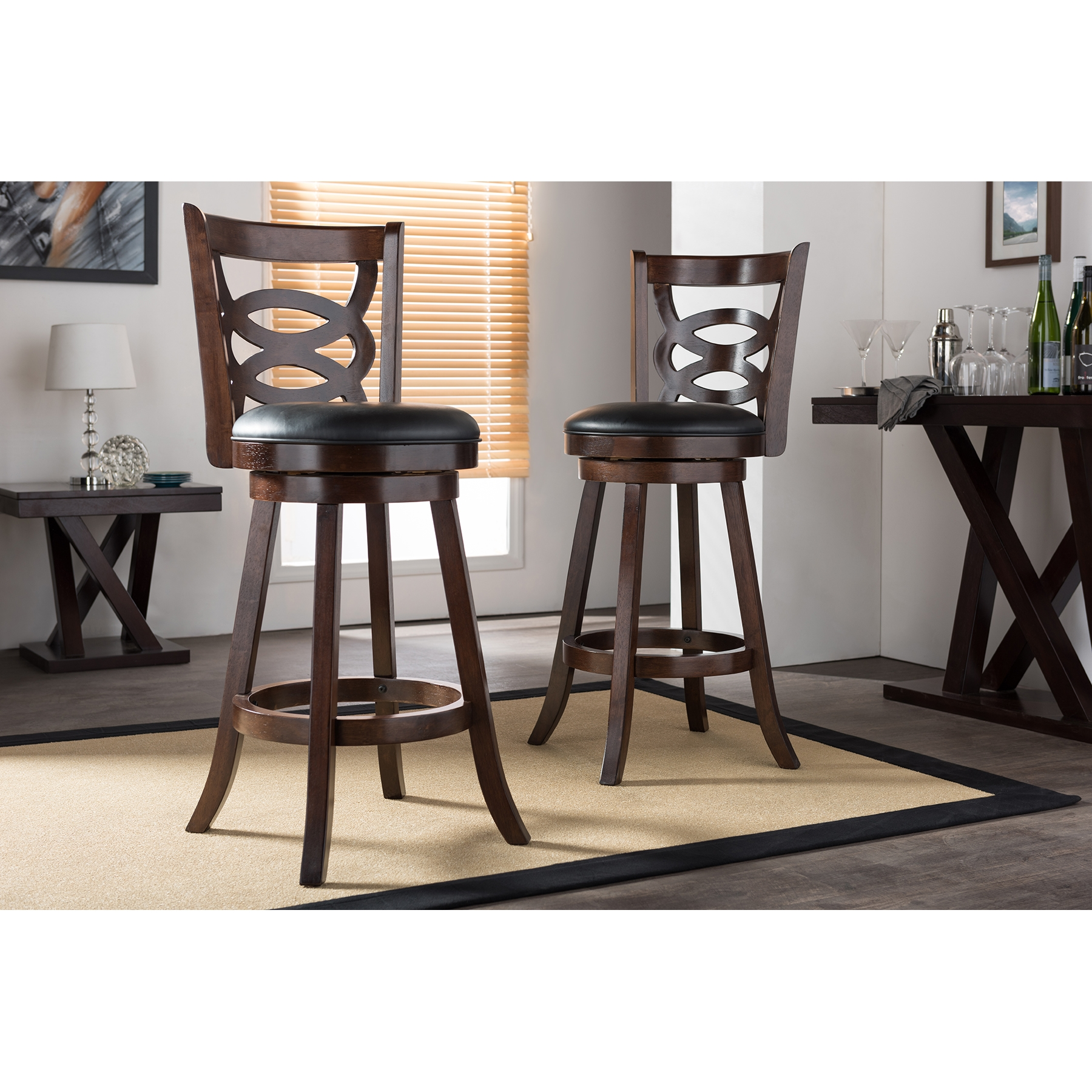 ... Baxton Studio Anthea Espresso Brown 29  Swivel Bar Stool with Upholstered Seat (Set of  sc 1 st  Baxton Studio Outlet & Baxton Studio Anthea Espresso Brown 29