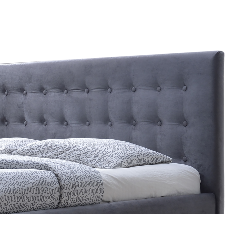 Gray Velvet Button Tufted King Platform Bed : Baxton studio margaret modern and contemporary grey velvet