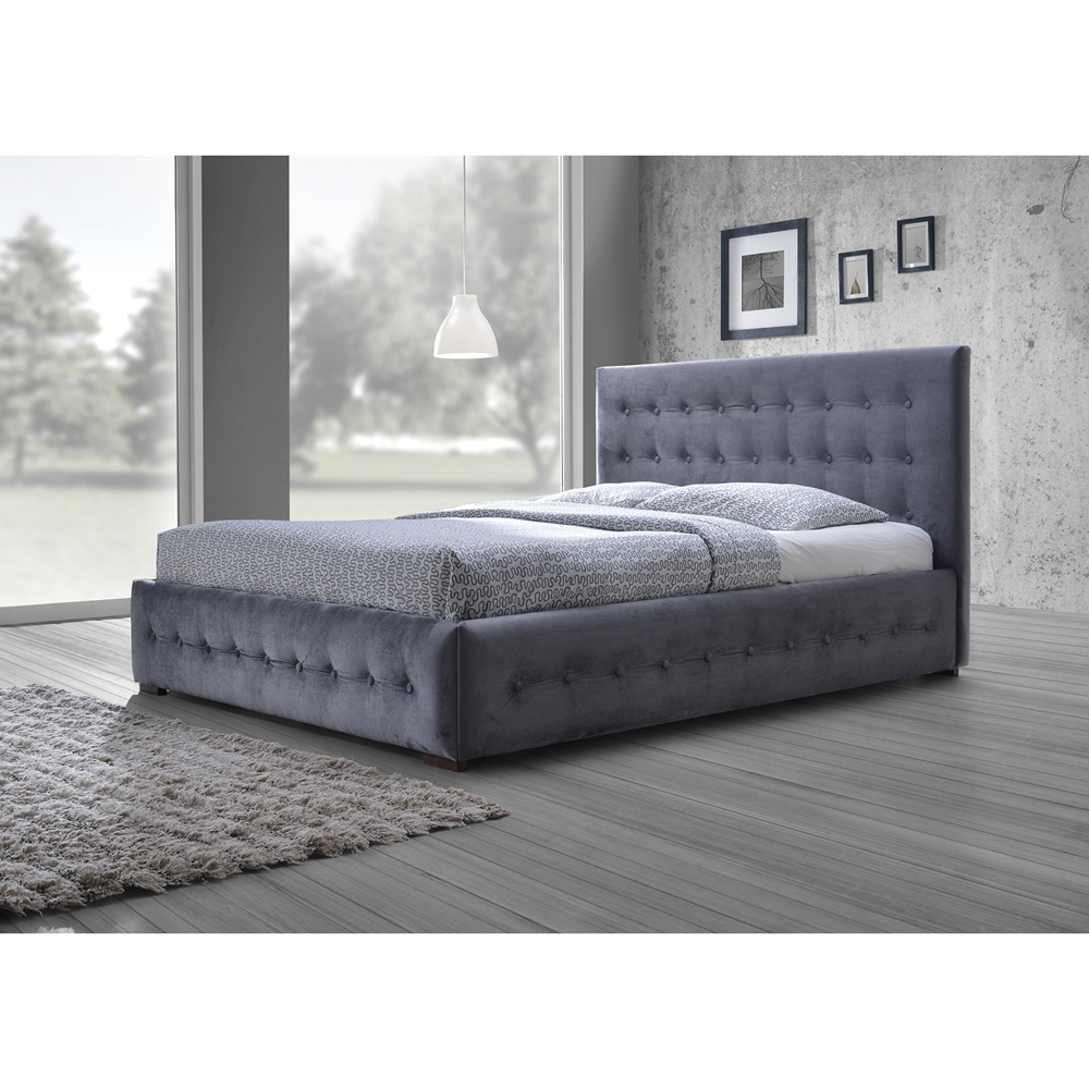 baxton studio margaret modern and contemporary grey velvet button  -  baxton studio margaret modern and contemporary grey velvetbuttontufted queen platform bed  bsocf