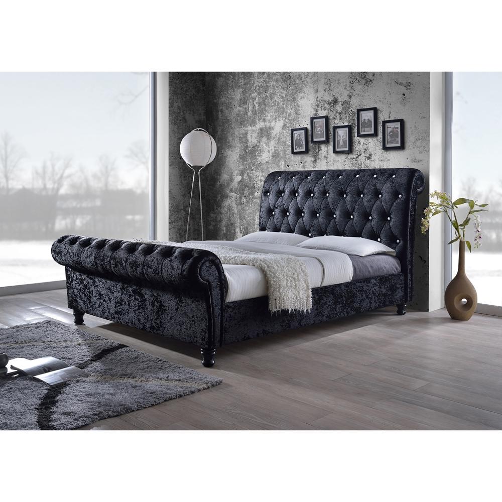 Baxton Studio Castello Black Velvet Upholstered Faux