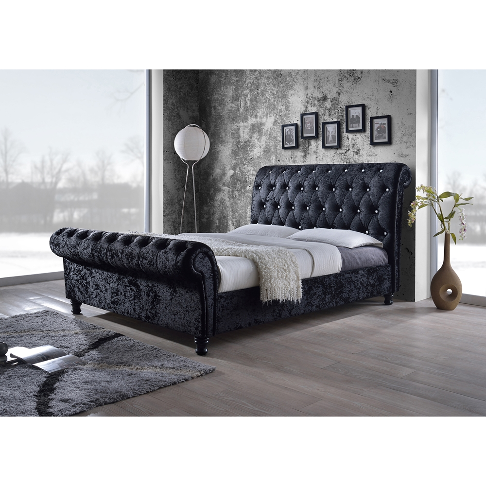 Baxton Studio Castello Black Velvet Upholstered Faux Crystal Buttoned Sleigh  King Platform Bed BSOCF8539 Baxton. King Dhp Purple Beds   makitaserviciopanama com