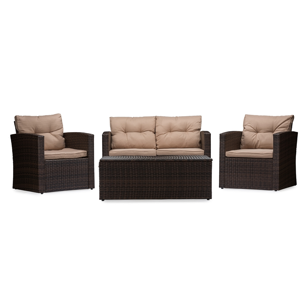 baxton studio imperia modern and contemporary pe rattan piece outdoorloveseat and chairs in beige seating cushions with coffee table patio set. baxton studio imperia modern and contemporary pe rattan piece