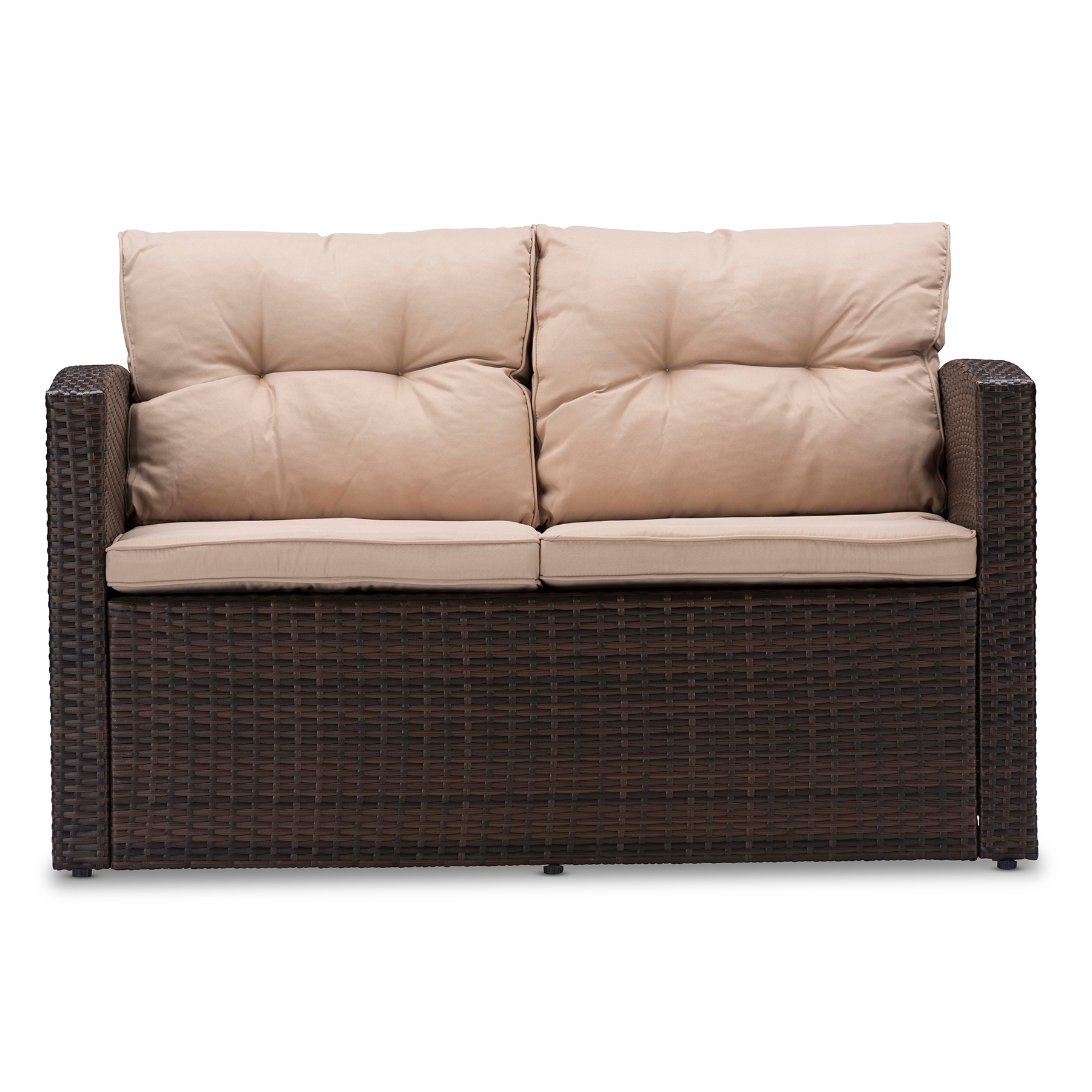 ... Baxton Studio Imperia Modern And Contemporary PE Rattan 4 Piece Outdoor  Loveseat And Chairs In ...