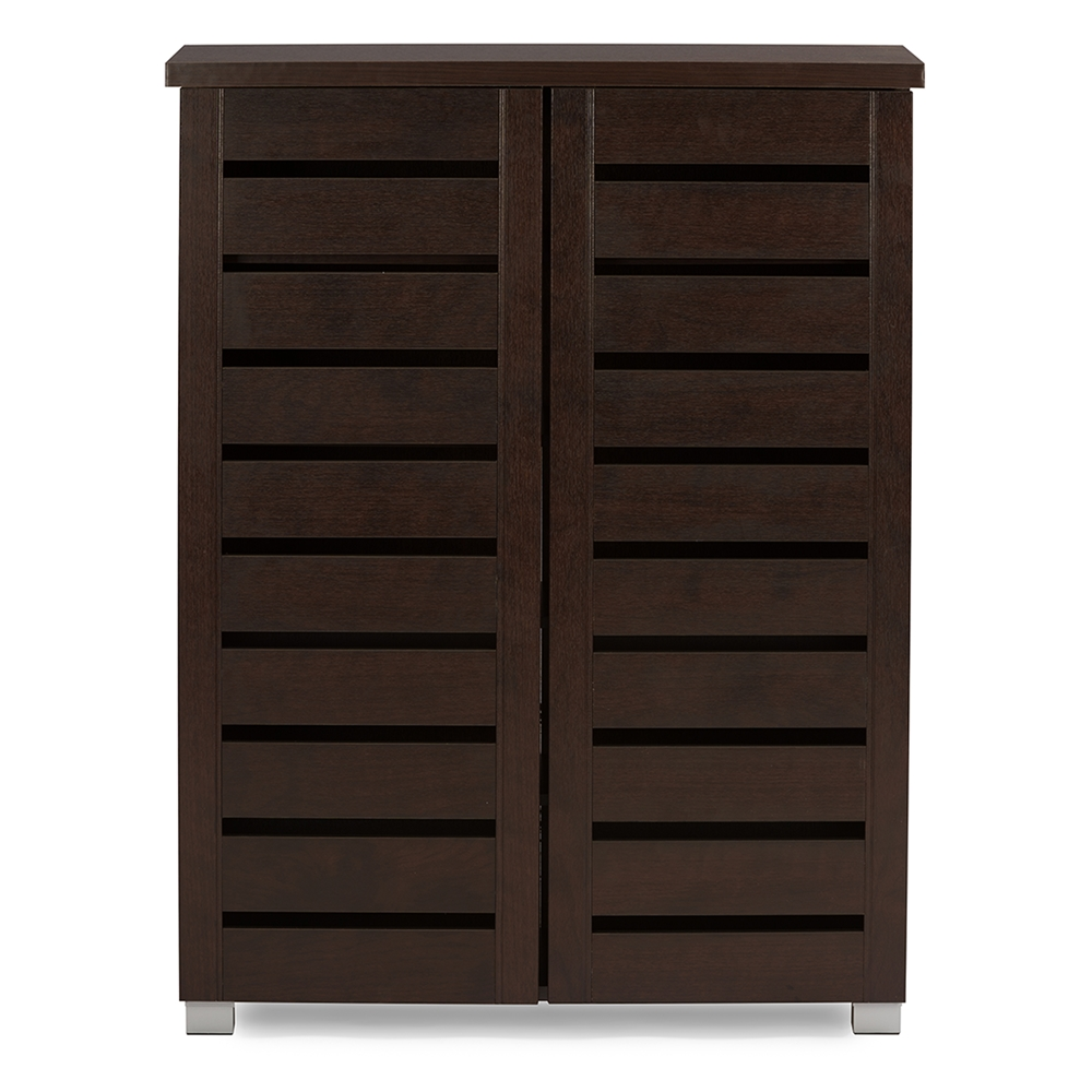 Baxton Studio Adalwin Modern And Contemporary 2 Door Dark Brown Wooden Entryway Shoes Storage