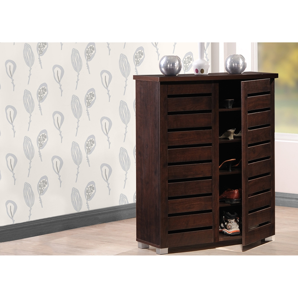 Baxton studio adalwin modern and contemporary 2 door dark Entryway storage cabinet