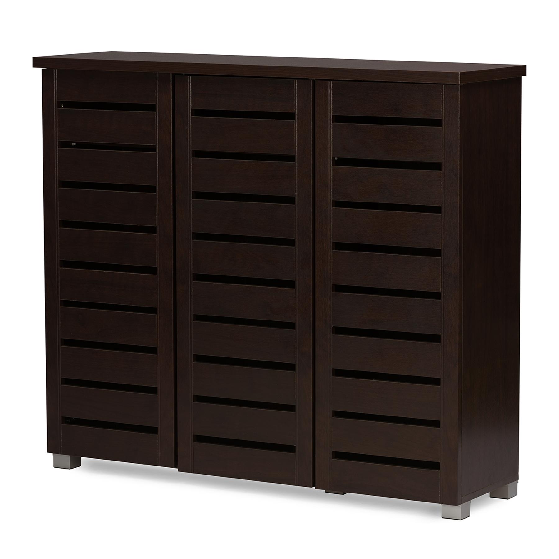 ... Baxton Studio Adalwin Modern And Contemporary 3 Door Dark Brown Wooden  Entryway Shoes Storage Cabinet ...