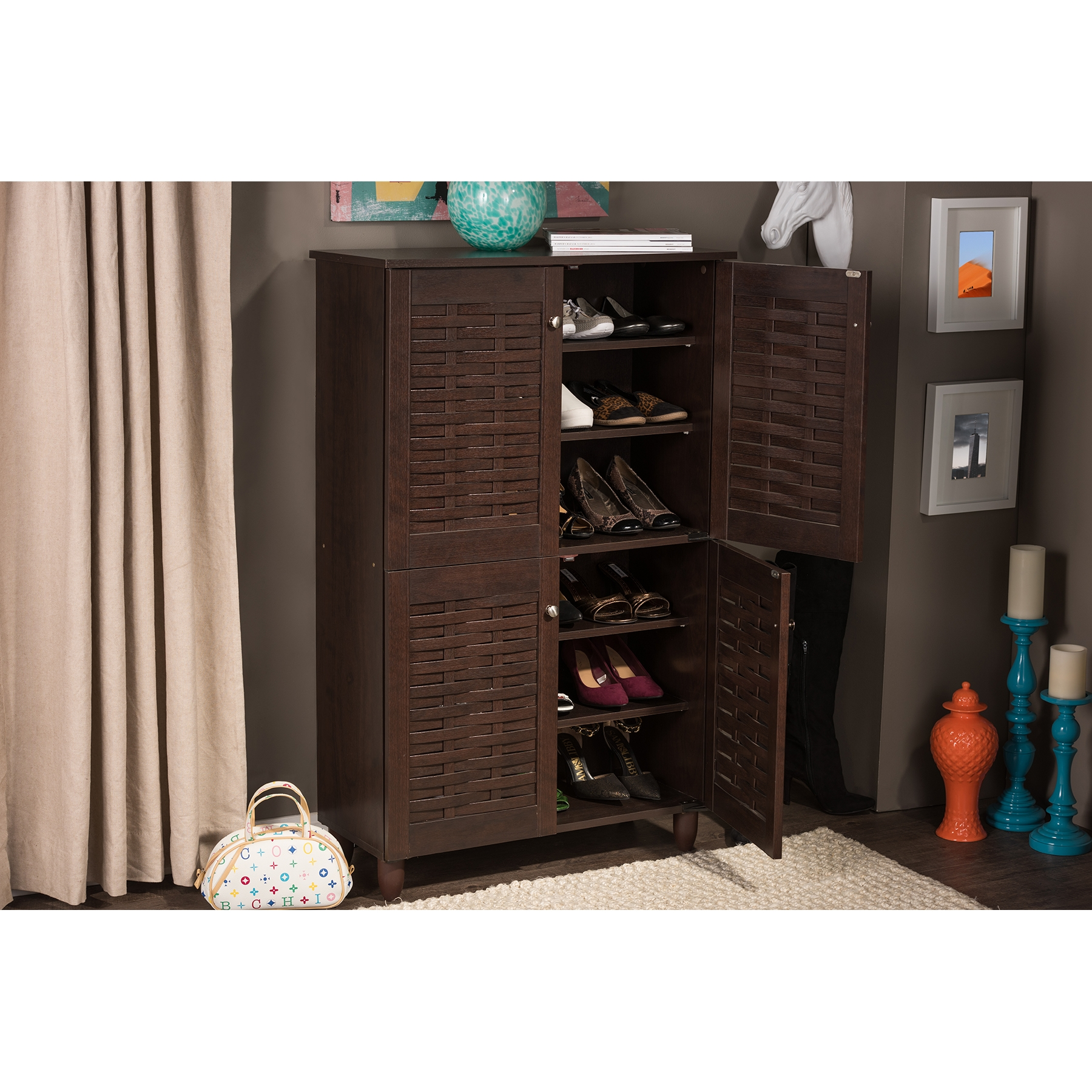 shoe storage furniture for entryway. baxton studio winda modern and contemporary 4door dark brown wooden entryway shoes storage cabinet shoe furniture for
