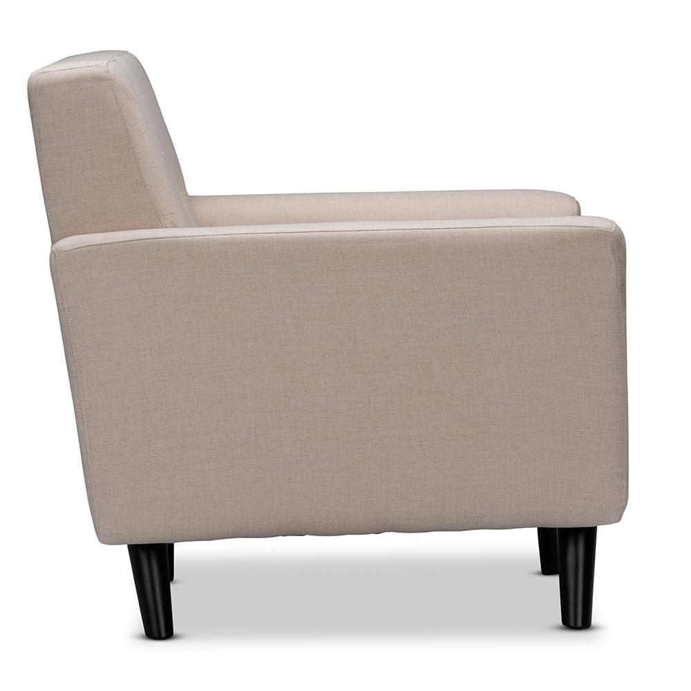 Beige modern armchair -  Baxton Studio Damien Scandinavian Style Retro Modern Beige Linen Button Tufted Fabric Upholstered Armchair