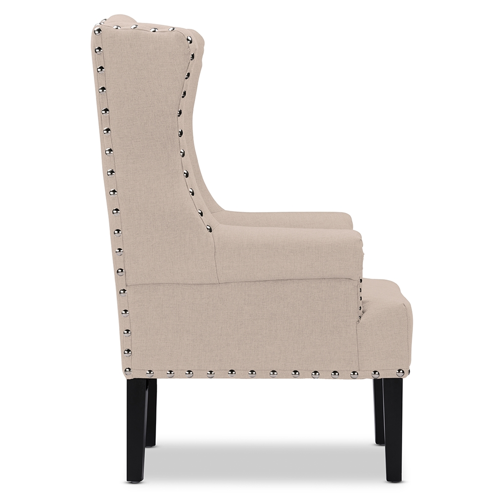 Baxton Studio Knuckey French Country Beige Linen Nail Head