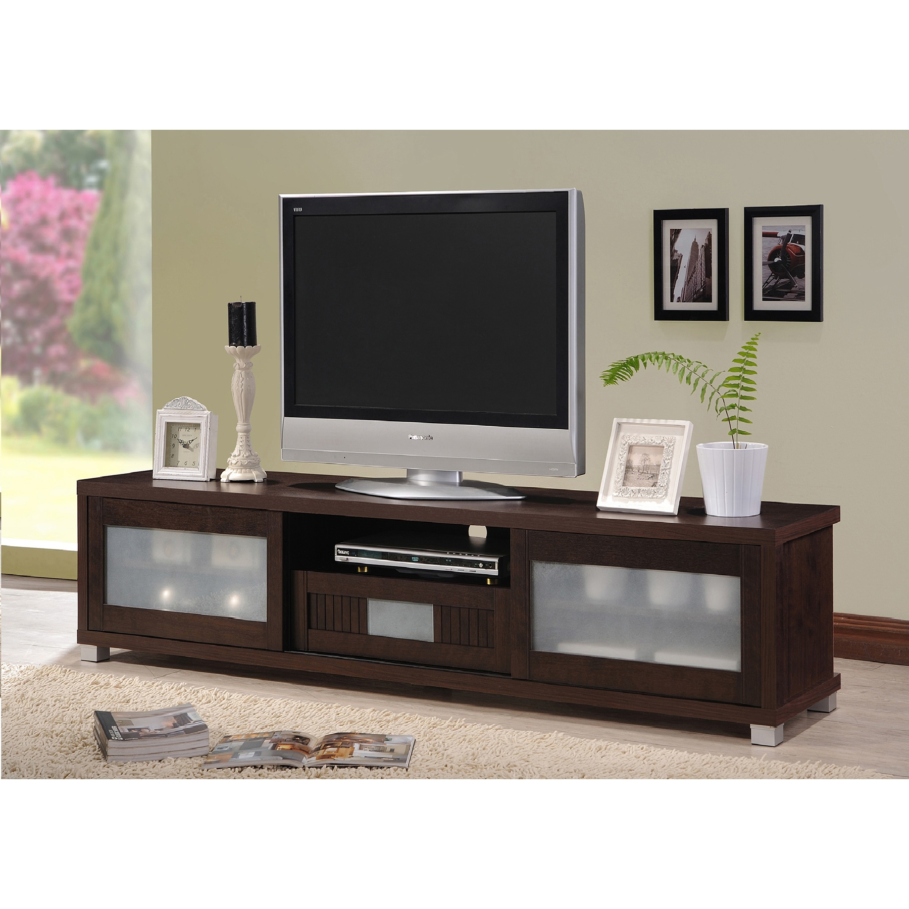 Superb ... Baxton Studio Gerhardine Dark Brown Wood 70 Inch TV Cabinet With 2  Sliding Doors And