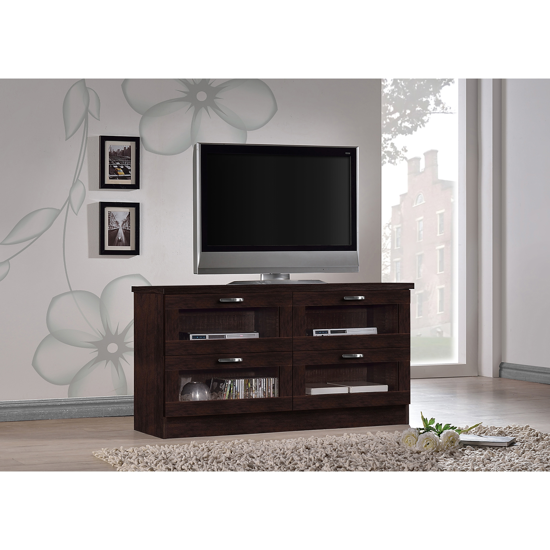 Wooden Tv Stand With Glass Doors Latest Wood Tv Stands With Glass  # Muebles Rudnick