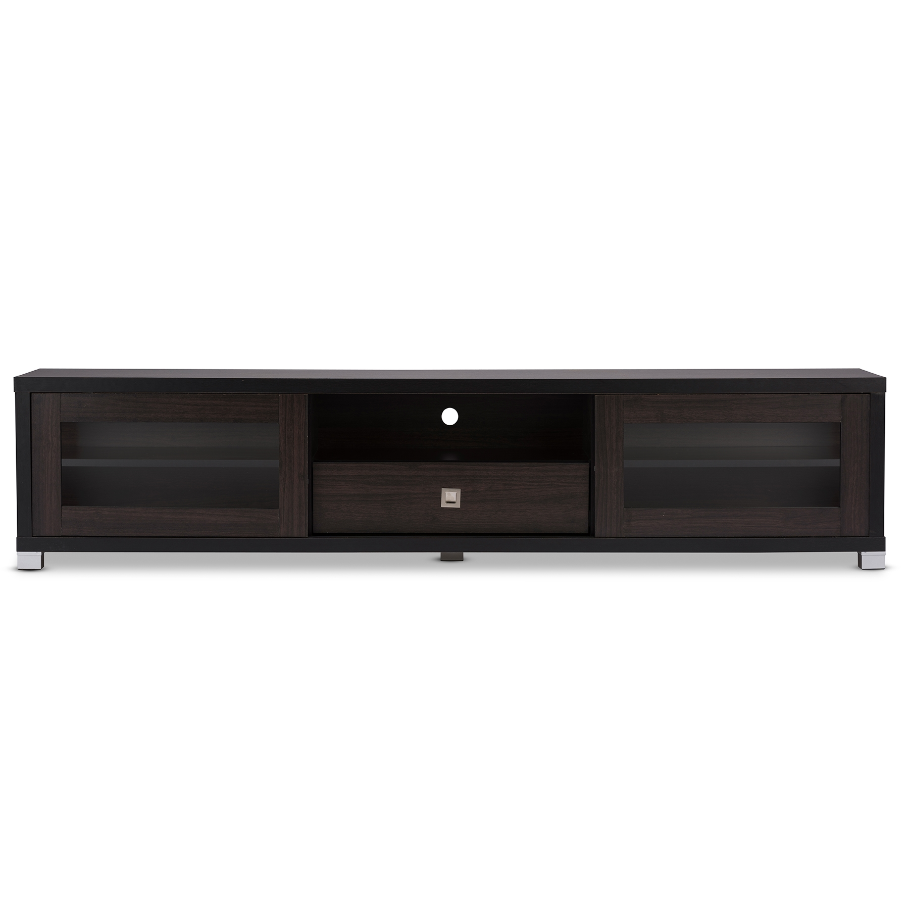 Gentil Baxton Studio Beasley 70 Inch Dark Brown TV Cabinet With 2 Sliding Doors  And Drawer