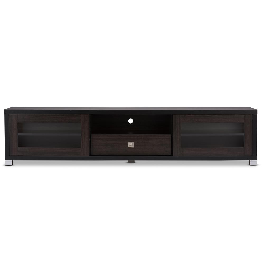 Baxton Studio Beasley 70 Inch Dark Brown Tv Cabinet With 2