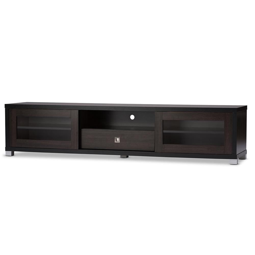 Baxton studio beasley 70 inch dark brown tv cabinet with 2 for Armoire television salon