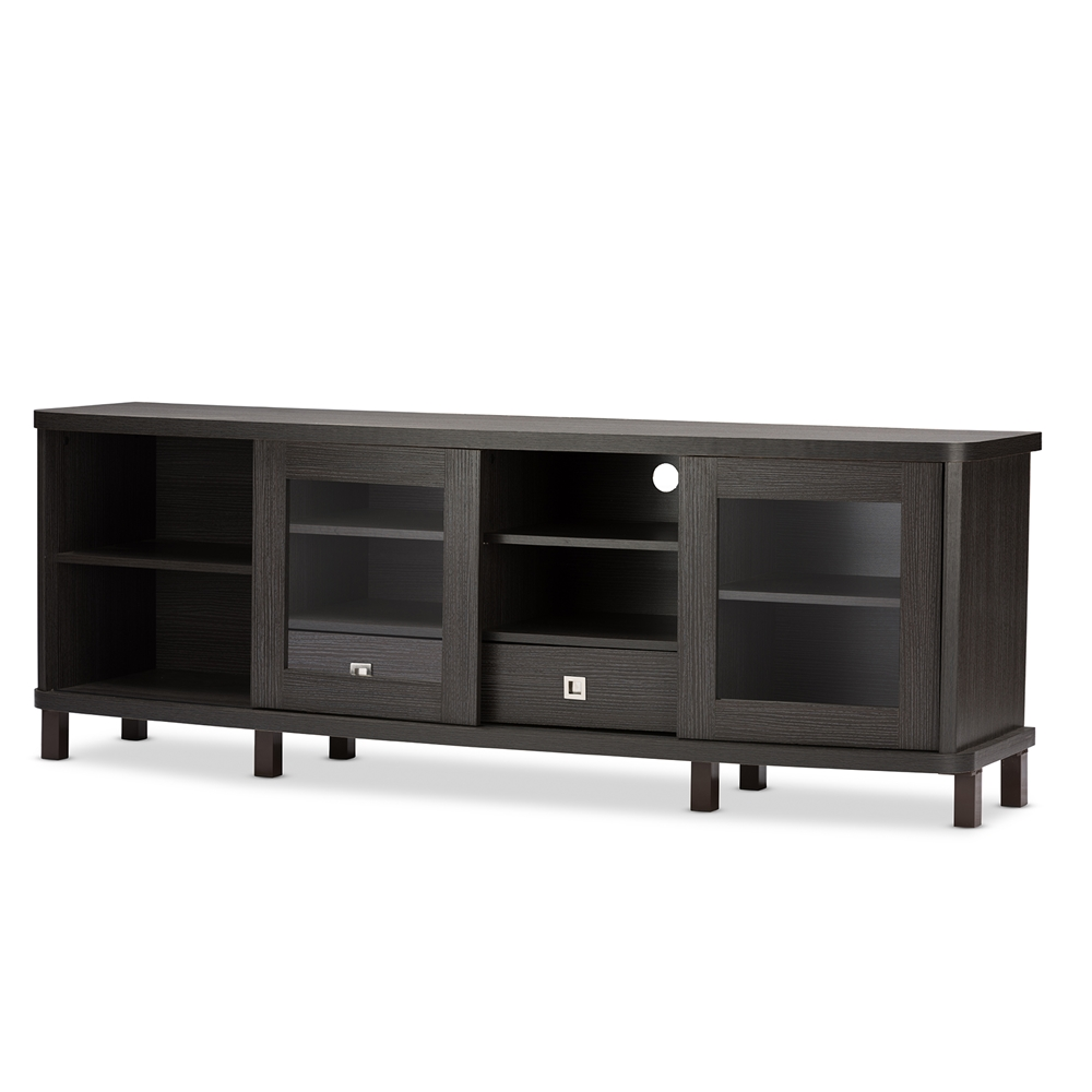 Baxton Studio Walda 70-Inch Dark Brown Wood TV Cabinet with 2 ...