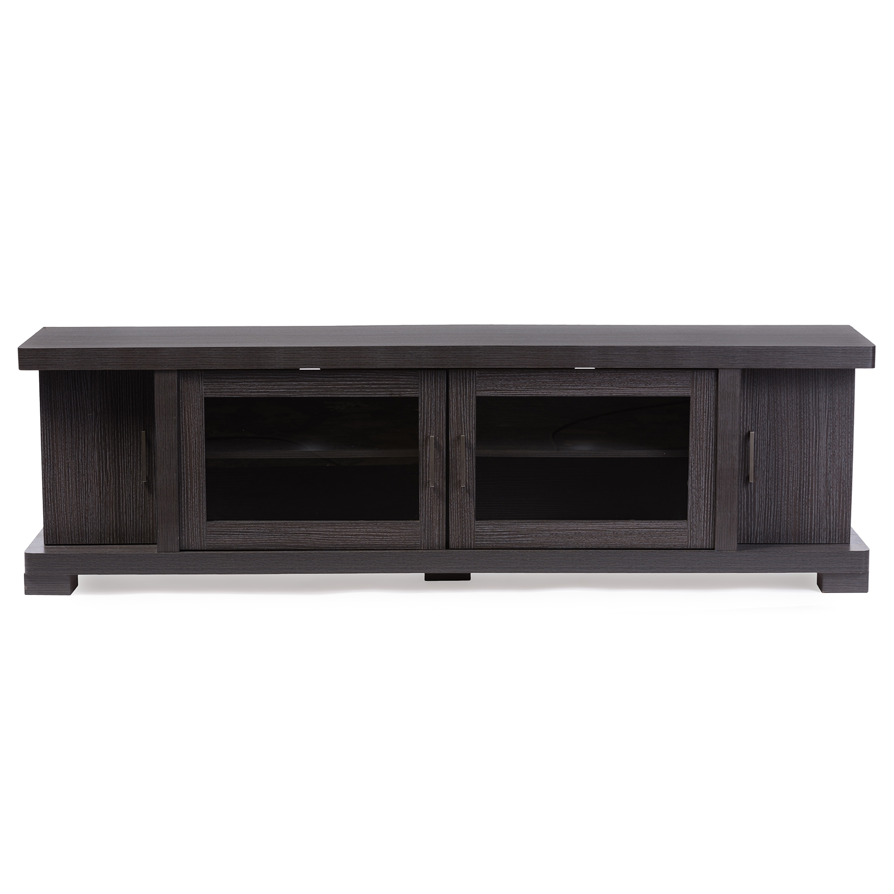 Baxton Studio Viveka 70 Inch Dark Brown Wood TV Cabinet With 2 Glass Doors  And 2 Doors