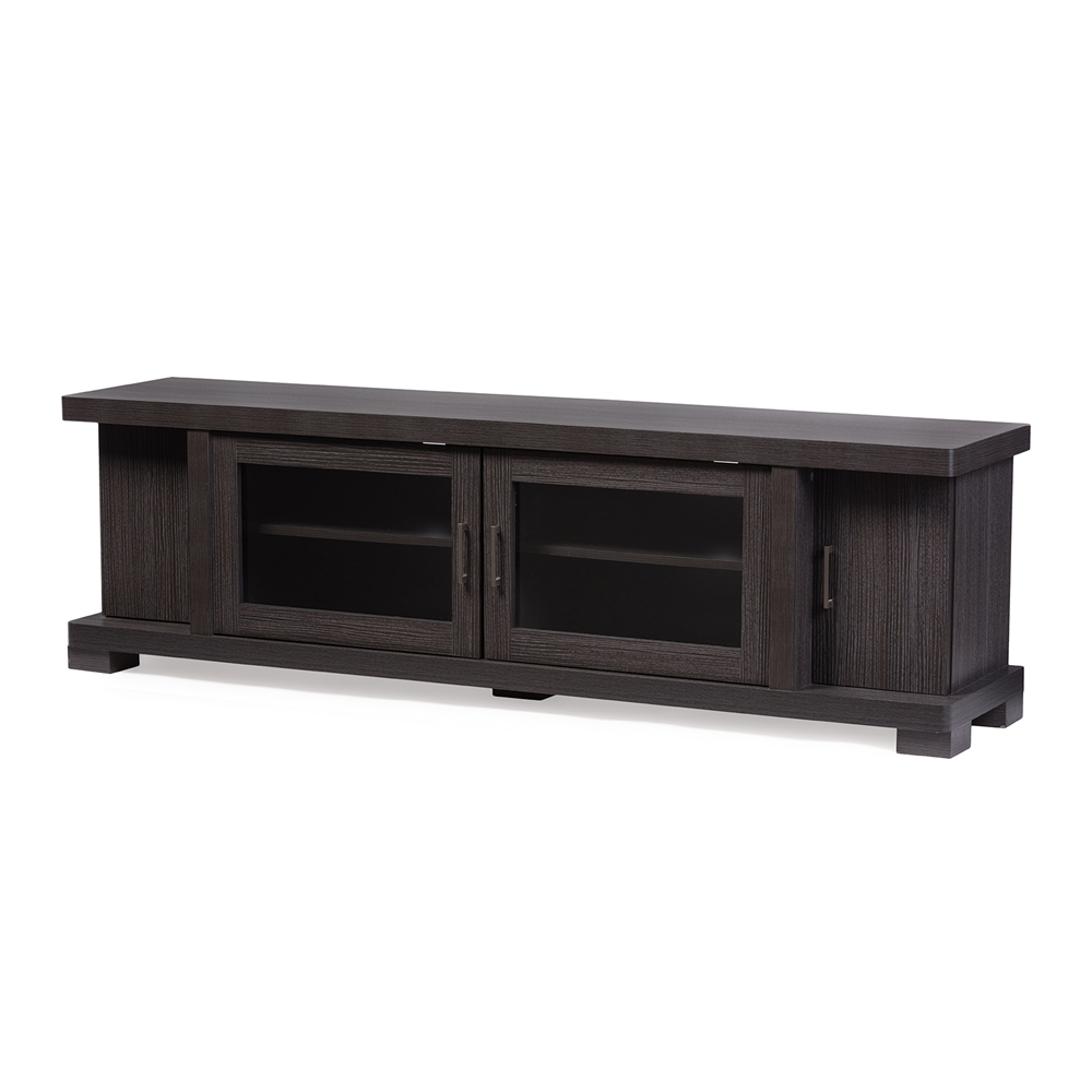Baxton studio viveka 70 inch dark brown wood tv cabinet for Armoire television salon
