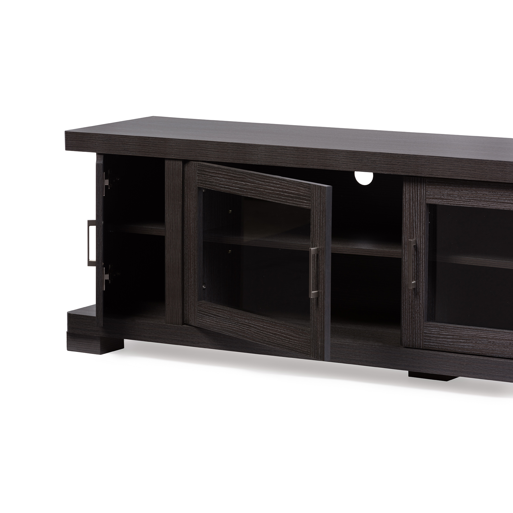 ... Baxton Studio Viveka 70 Inch Dark Brown Wood TV Cabinet With 2 Glass  Doors And ...