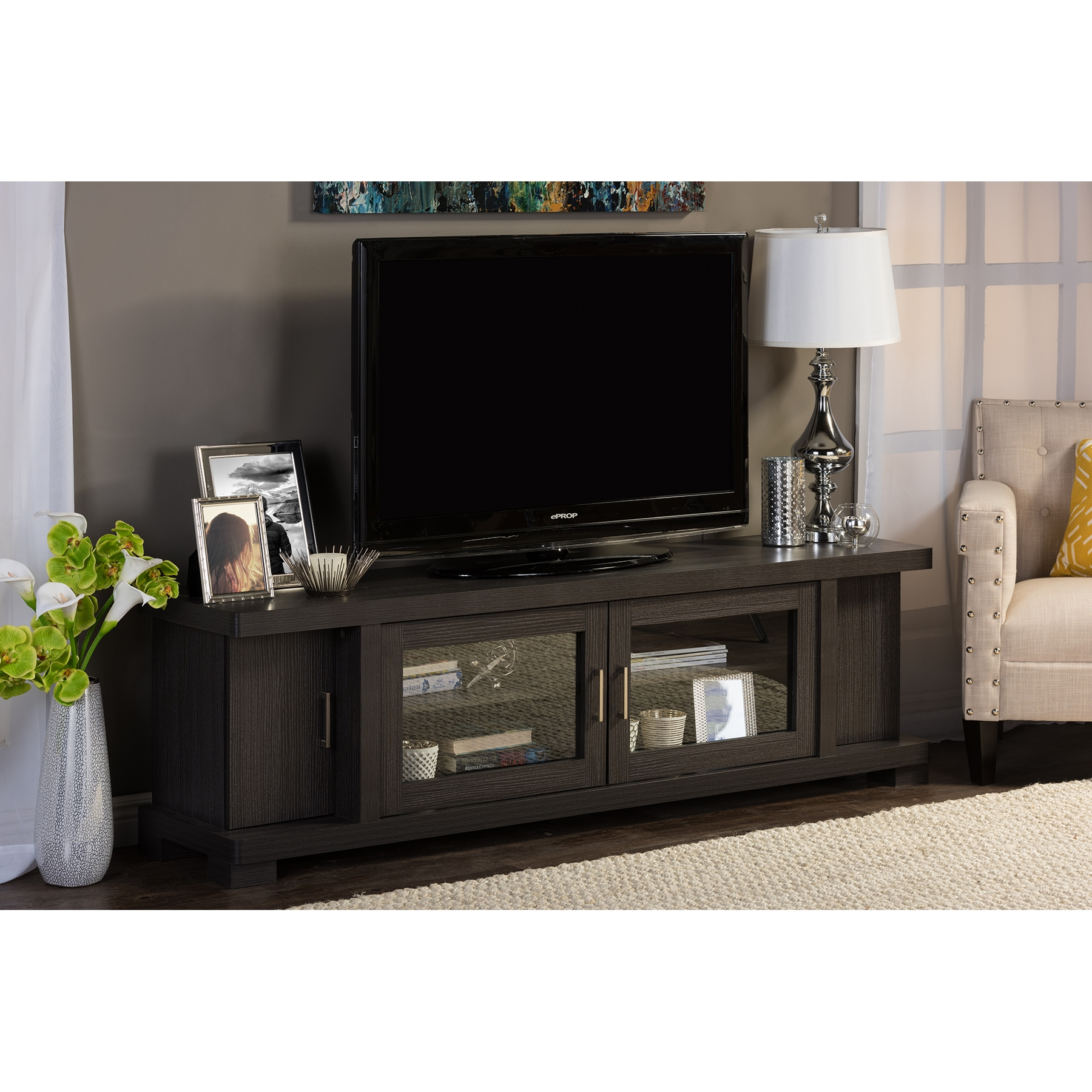 baxton studio viveka 70inch dark brown wood tv cabinet with 2 glass doors and